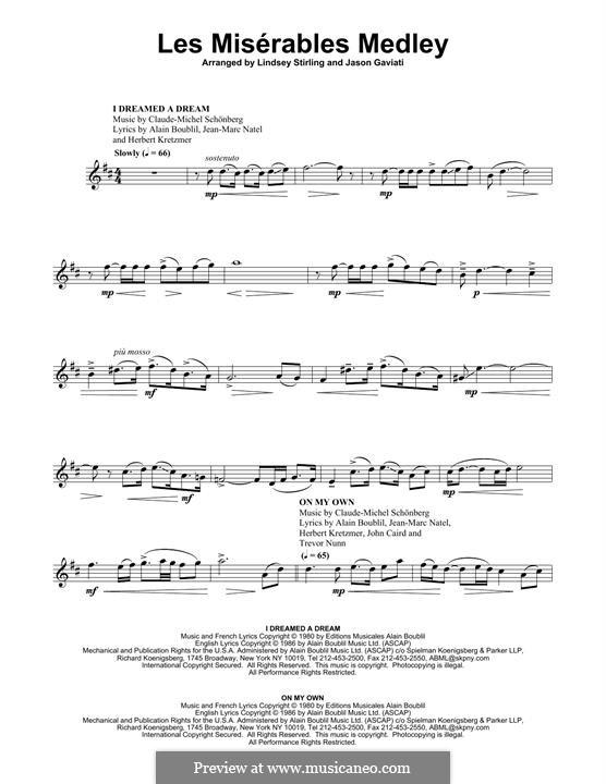 Bring Him Home: For violin by Claude-Michel Schönberg