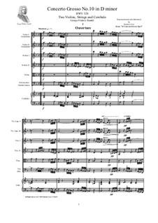 Concerto Grosso No.10 in D Minor, HWV 328: Score, parts by Georg Friedrich Händel