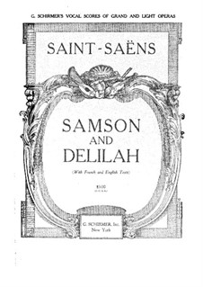 Samson and Dalila, Op.47: Piano-vocal score by Camille Saint-Saëns
