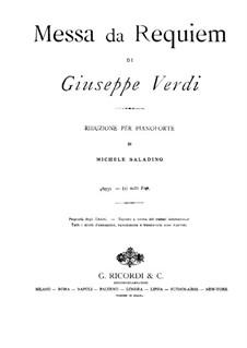 Messa da Requiem: For piano by Giuseppe Verdi