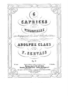 Six Caprices for Cello (with Cello II ad libitum), Op.11: Parts by Adrien-François Servais