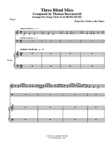 Three Blind Mice: For piano trio (violin, cello, piano) by Thomas Ravenscroft
