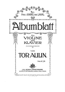 Album Leaf for Violin and Piano: Solo part by Tor Aulin