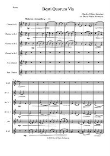 Beati Quorum Via: For clarinet sextet or clarinet choir (E flat, 3 B flats, Alto, Bass) by Charles Villiers Stanford
