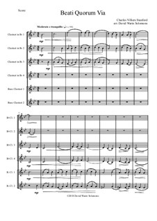 Beati Quorum Via: For clarinet sextet (4 B flats, 2 Basses) by Charles Villiers Stanford