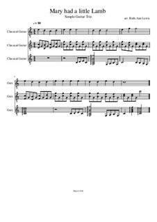 Mary Had a Little Lamb: For trio guitars by folklore