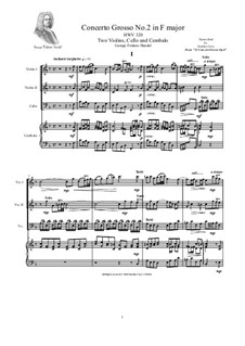 Concerto Grosso No.2 in F Major, HWV 320: Version for two violins, cello and cembalo by Georg Friedrich Händel