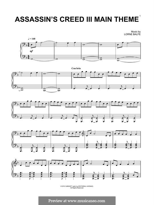 Assassin's Creed III Main Title: For piano by Lorne Balfe