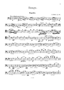 Songe, Op.80: Score for clarinet, bassoon and piano – bassoon part by Heinrich Molbe