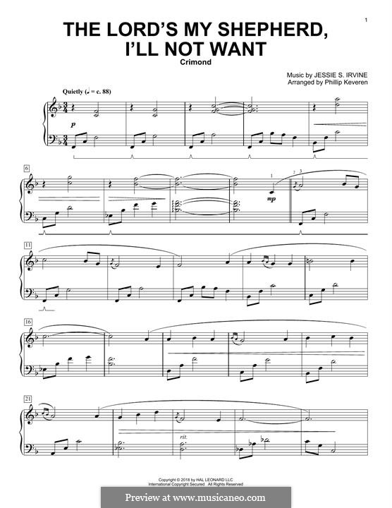 The Lord's My Shepherd, I'll Not Want: For piano by Jessie S. Irvine