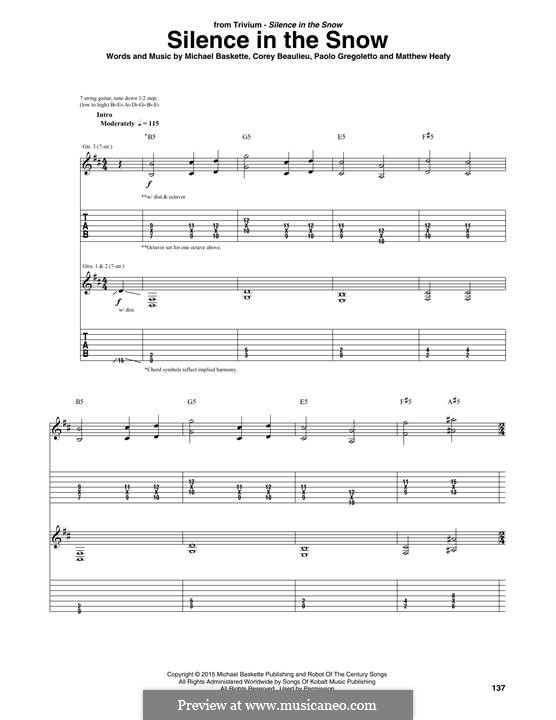 Silence in the Snow (Trivium): For guitar with tab by Michael Baskette, Corey Beaulieu, Matthew Heafy, Paulo Gregoletto