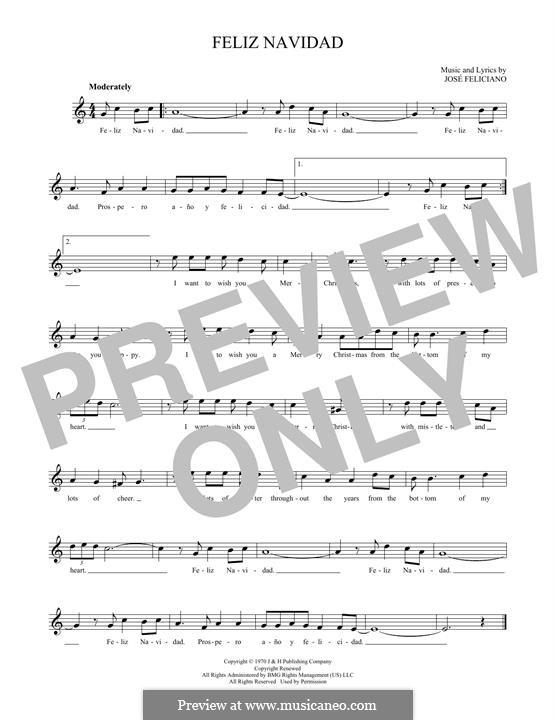 Feliz Navidad: Melody line by José Feliciano