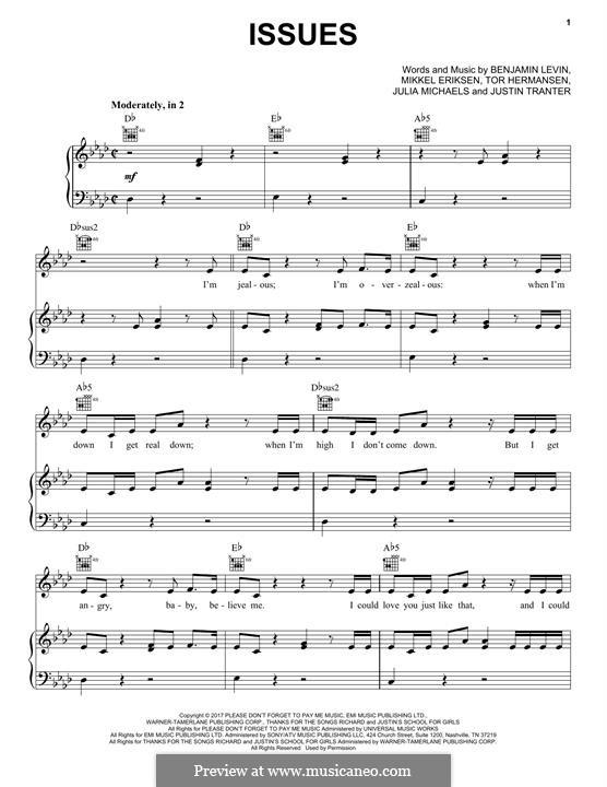 Issues: For voice and piano or guitar (Pentatonix) by Benjamin Levin, Mikkel Storleer Eriksen, Tor Erik Hermansen, Julia Michaels, Justin Tranter