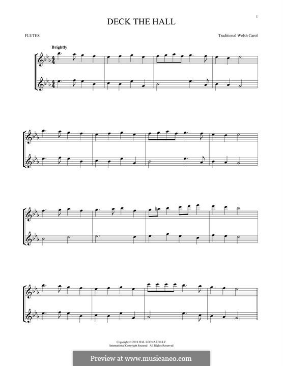 Deck the Hall (Printable): For two flutes by folklore