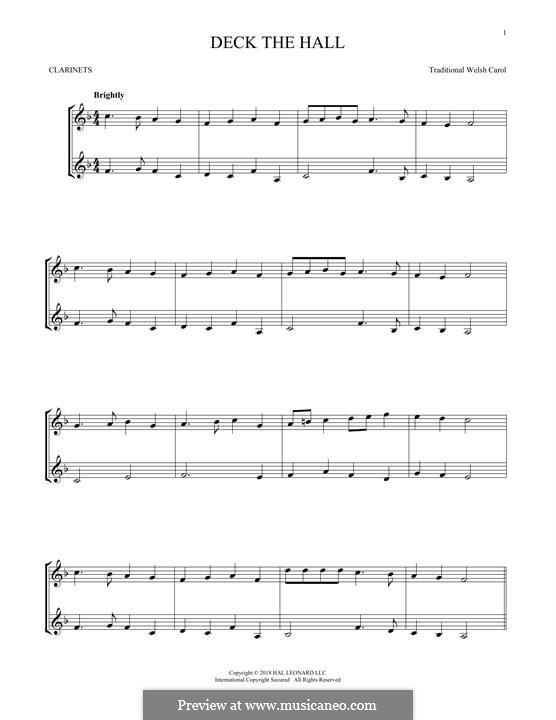 Deck the Hall (Printable): For two clarinets by folklore