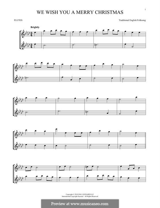 We Wish You a Merry Christmas (Printable Scores): For two flutes by folklore