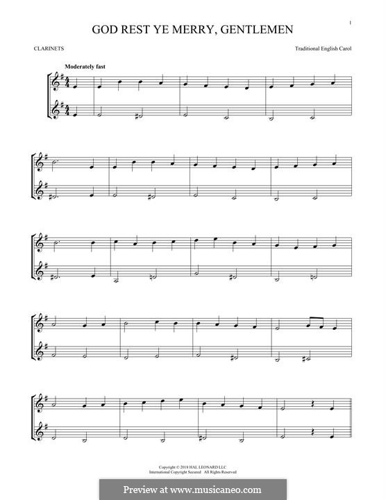 God Rest You Merry, Gentlemen (Printable Scores): For two clarinets by folklore