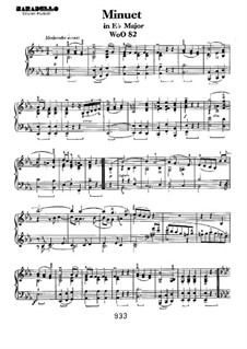 Minuet in E Flat Major, WoO 82: For piano by Ludwig van Beethoven