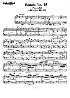 Sonata for Piano No.15 'Pastoral', Op.28: For a single performer by Ludwig van Beethoven