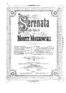 Six Pieces for Piano, Op.15: No.1 Serenade, for string quartet – full score by Moritz Moszkowski
