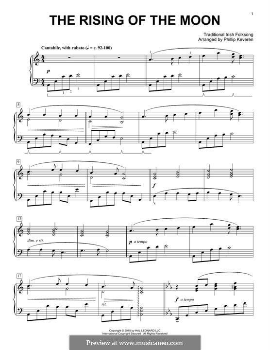 The Rising of the Moon: For easy piano by folklore
