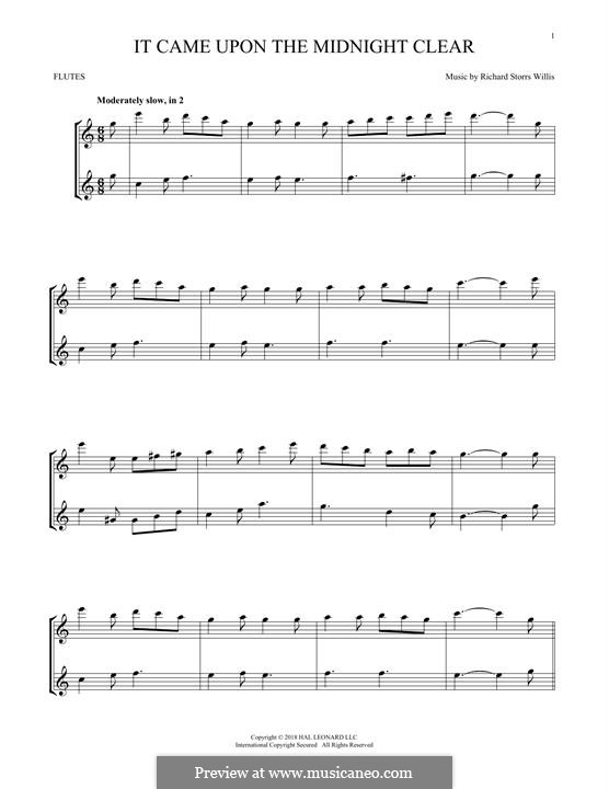 It Came upon the Midnight Clear: For two flutes by Richard Storrs Willis
