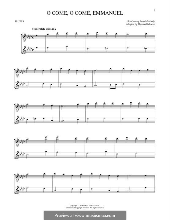 O Come, O Come, Emmanuel: For two flutes by folklore