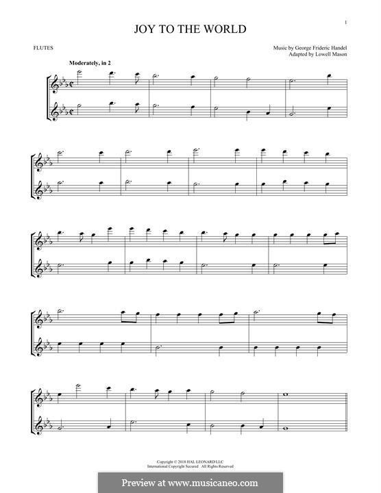 Joy to the World (Printable Scores): For two flutes by Georg Friedrich Händel