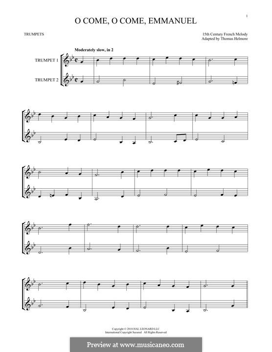O Come, O Come, Emmanuel: For two trumpets by folklore