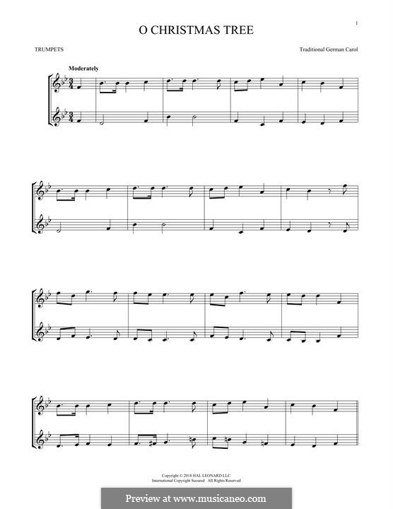 O Christmas Tree, (Printable Scores): For two trumpets by folklore