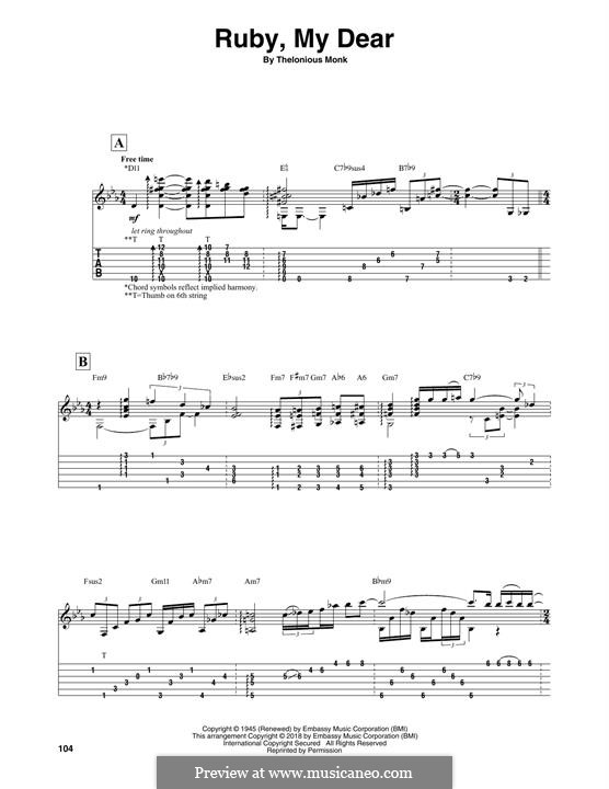 Ruby, My Dear: For guitar with tab by Thelonious Monk