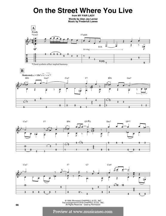 On the Street Where You Live (from My Fair Lady): For guitar with tab by Frederick Loewe