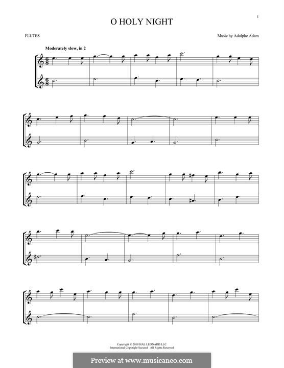 O Holy Night (Printable Scores): For two flutes by Adolphe Adam