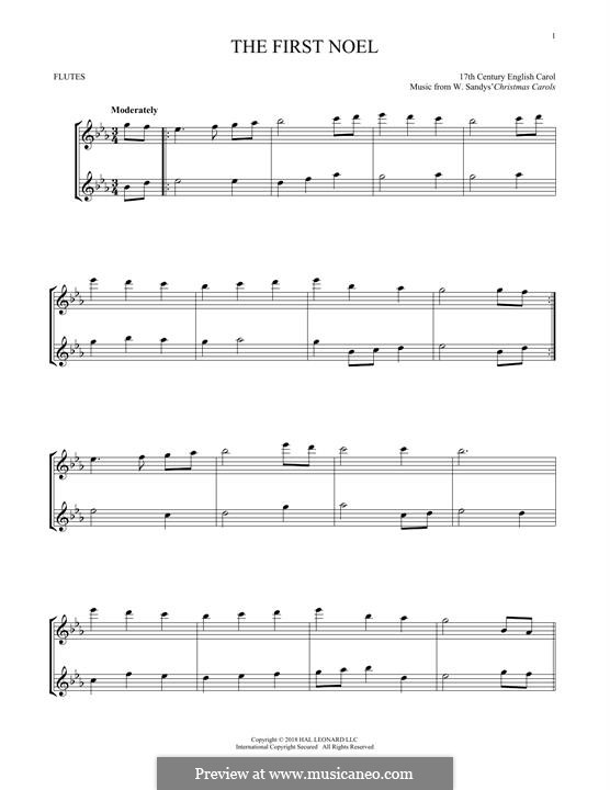 The First Nowell (The First Noël), Printable scores: For two flutes by folklore