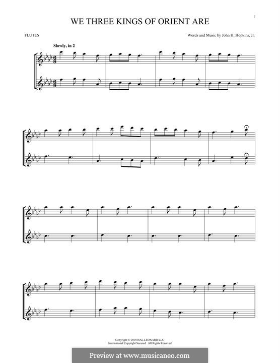 We Three Kings of Orient are (Printable Scores): For two flutes by John H. Hopkins Jr.