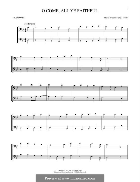 O Come, All Ye Faithful (Printable Scores): For two trombones by John Francis Wade