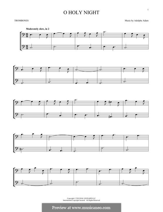 O Holy Night (Printable Scores): For two trombones by Adolphe Adam