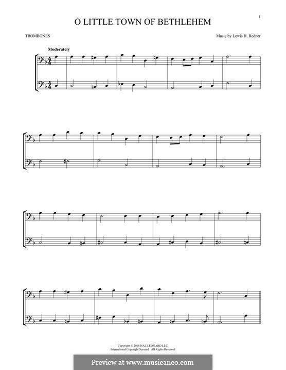 O Little Town of Bethlehem: For two trombones by Lewis Henry Redner