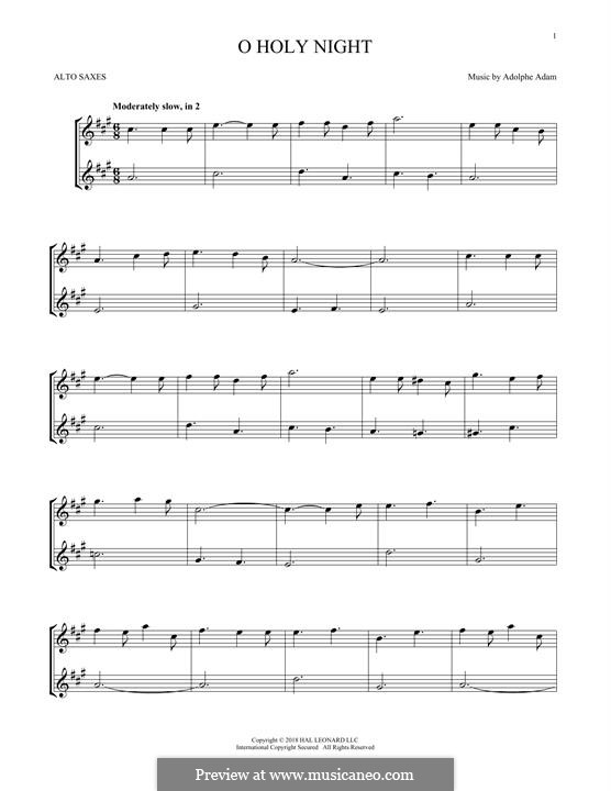 O Holy Night (Printable Scores): For two alto saxophones by Adolphe Adam
