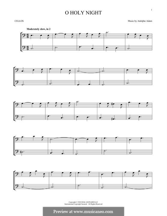 O Holy Night (Printable Scores): For two violins by Adolphe Adam