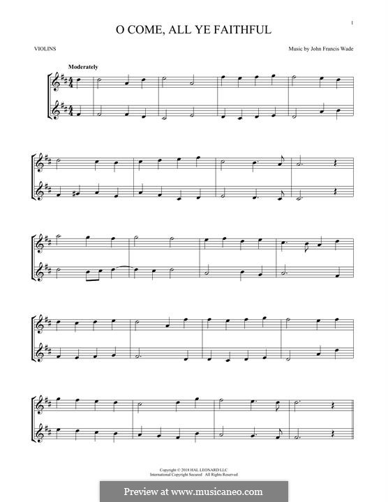 O Come, All Ye Faithful (Printable Scores): For two violins by John Francis Wade