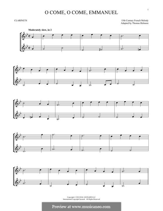 O Come, O Come, Emmanuel: For two clarinets by folklore