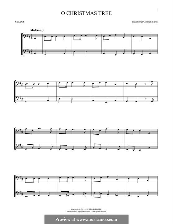 O Christmas Tree, (Printable Scores): For two violins by folklore