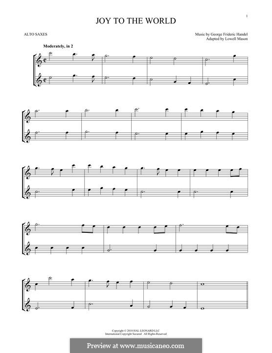 Joy to the World (Printable Scores): For two alto saxophones by Georg Friedrich Händel