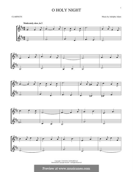 O Holy Night (Printable Scores): For two clarinets by Adolphe Adam