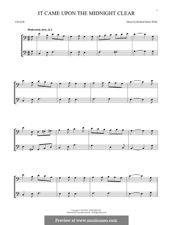 It Came upon the Midnight Clear: For two violins by Richard Storrs Willis