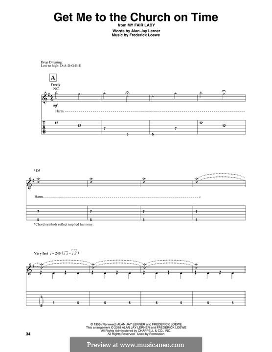 Get Me to the Church on Time: For guitar with tab by Frederick Loewe