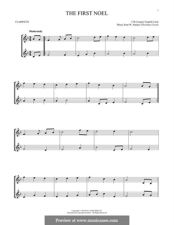 The First Nowell (The First Noël), Printable scores: For two clarinets by folklore