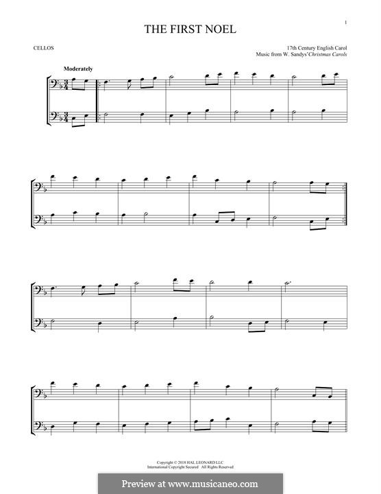 The First Nowell (The First Noël), Printable scores: For two violins by folklore