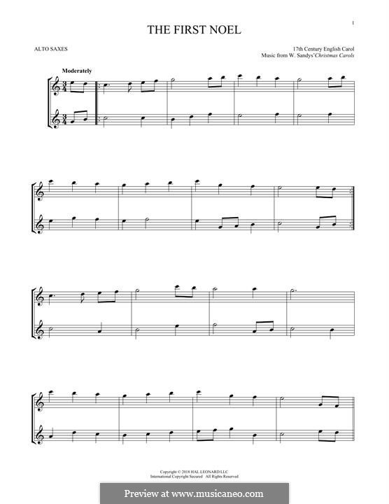 The First Nowell (The First Noël), Printable scores: For two alto saxophones by folklore